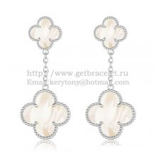 Van Cleef & Arpels Magic Alhambra Earrings White Gold With White Mother Of Pearl