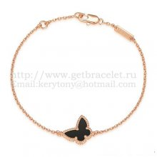 Van Cleef & Arpels Sweet Alhambra Butterfly Bracelet Pink Gold With Black Agate Mother Of Pearl