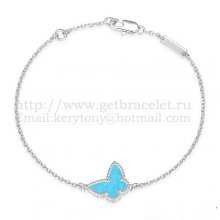 Van Cleef & Arpels Sweet Alhambra Butterfly Bracelet White Gold With Turquoise Mother Of Pearl