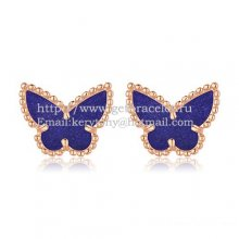 Van Cleef & Arpels Sweet Alhambra Butterfly Earrings Pink Gold With Lapis Stone Mother Of Pearl