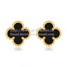 Van Cleef & Arpels Sweet Alhambra Earrings 9mm Yellow Gold With Black Onyx Mother Of Pearl