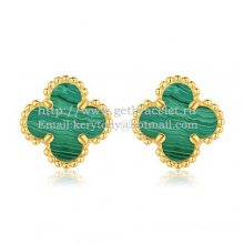 Van Cleef & Arpels Sweet Alhambra Earrings 9mm Yellow Gold With Malachite Mother Of Pearl