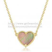Van Cleef Arpels Sweet Alhambra Heart Pendant Yellow Gold With Gray Mother Of Pearl