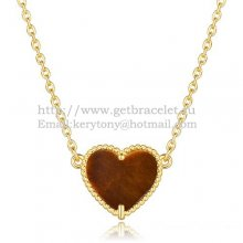 Van Cleef Arpels Sweet Alhambra Heart Pendant Yellow Gold With Tiger's Eye Mother Of Pearl