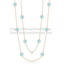 Van Cleef & Arpels Vintage Alhambra Necklace Pink Gold 10 Motifs With Turquoise Mother Of Pearl
