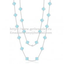 Van Cleef & Arpels Vintage Alhambra Necklace White Gold 20 Motifs With Turquoise Mother Of Pearl