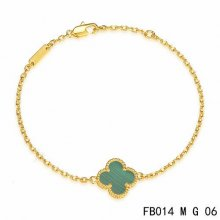 Imitation Van Cleef & Arpels Sweet Alhambra Bracelet In Yellow Gold With Malachite