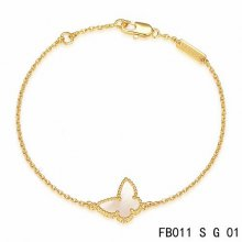 Fake Van Cleef & Arpels Sweet Alhambra Butterfly Bracelet In Yellow Gold With Mother-Of-Pearl
