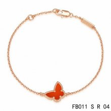 Imitation Van Cleef & Arpels Sweet Alhambra Butterfly Bracelet In Pink Gold With Carnelian