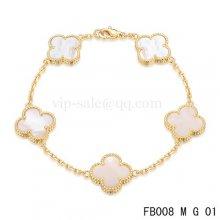 Imitation Van Cleef & Arpels Bracelet Jaune Avec 5 Motifs De Couleur Blanche