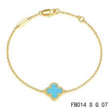 Cheap Van Cleef & Arpels Sweet Alhambra Bracelet In Yellow Gold With Turquoise