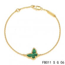 Cheap Van Cleef & Arpels Sweet Alhambra Bracelet In Yellow With Green Butterfly