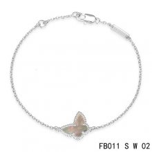 Fake Van Cleef & Arpels Sweet Alhambra Bracelet In White With Gray Butterfly