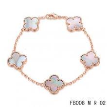 Imitation Van Cleef & Arpels Alhambra Bracelet In Pink With 5 Gray Clover