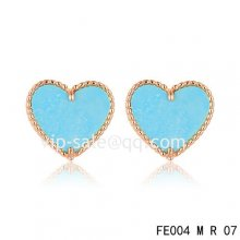 Cheap Van Cleef & Arpels Sweet Alhambra Heart Earrings Pink Gold,Turquoise
