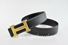 Hermes Reversible Belt Classics H Togo Calfskin With 18k Gold With Logo Buckle
