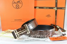 Hermes Reversible Belt Brown/Black Crocodile Stripe Leather With18K Gold H au Carre Buckle