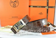 Hermes Reversible Belt Brown/Black Crocodile Stripe Leather With18K Gold Big H Buckle