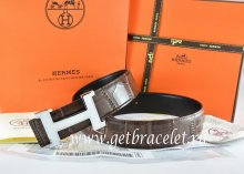 Hermes Reversible Belt Brown/Black Crocodile Stripe Leather With18K White Silver Narrow H Buckle