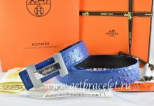 Hermes Reversible Belt Blue/Black Ostrich Stripe Leather With 18K Silver H Logo Buckle