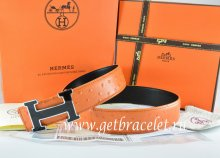 Hermes Reversible Belt Orange/Black Ostrich Stripe Leather With 18K Black Gold Width H Buckle
