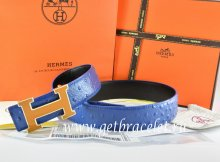 Hermes Reversible Belt Blue/Black Ostrich Stripe Leather With 18K Orange Gold Width H Buckle