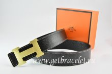 Hermes Reversible Belt Black/Black Togo Calfskin With 18k Gold H Buckle