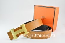 Hermes Reversible Belt Light Coffe/Black Togo Calfskin With 18k Gold H Buckle