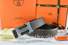 Hermes Reversible Belt Brown/Black Togo Calfskin With 18k Silver H Buckle