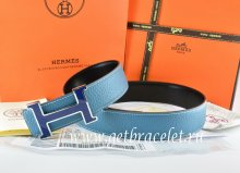 Hermes Reversible Belt Blue/Black Togo Calfskin With 18k Blue Silver H Buckle