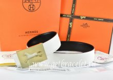 Hermes Reversible Belt White/Black Togo Calfskin With 18k Hollow Horse Gold Buckle