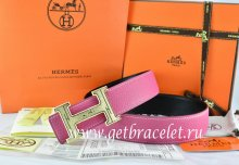 Hermes Reversible Belt Pink/Black Togo Calfskin With 18k Gold Geometric Stripe H Buckle