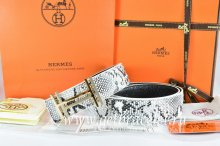 Hermes Reversible Belt White/Black Snake Stripe Leather With 18K Gold H au Carre Buckle