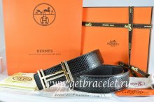 Hermes Reversible Belt Black/Black Snake Stripe Leather With 18K Gold H au Carre Buckle