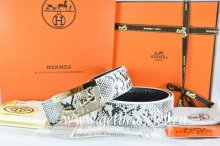 Hermes Reversible Belt White/Black Snake Stripe Leather With 18K Gold Coach Buckle