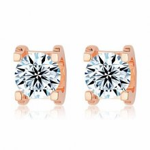 Cartier C DE Earrings in 18K Pink Gold With 1 Brilliant-Cut Diamond