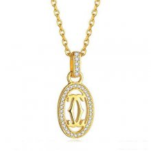 Cartier Logo Double C Necklace In Yellow Gold With Diamonds