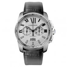 Calibre de Cartier Chronograph replica watch W7100046 steel black leather strap