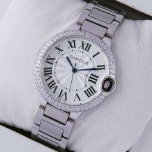 Ballon Bleu de Cartier medium steel watch with diamonds on bezel