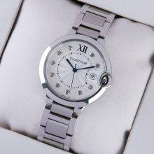 Ballon Bleu de Cartier medium steel watch with diamonds on dial