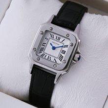 Cartier Santos 100 quartz small womens watch imitation steel black leather strap