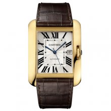 Cartier Tank Anglaise extra large watch for men W5310032 18K yellow gold brown leather strap