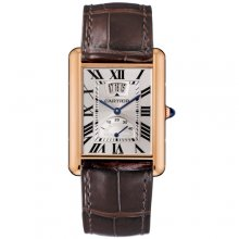 Cartier Tank Louis power reserve mens watch W1560003 18K pink gold brown leather strap