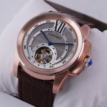 Calibre de Cartier Flying Tourbillon mens watch grey dial 18K pink gold brown leather strap