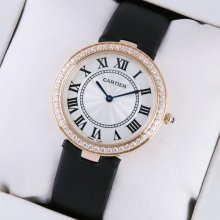 Ronde Solo de Cartier pink gold black stain strap ladies watch with single row diamond bezel