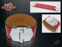 Hermes Berenice Leather Bracelet Red With Silver Cuff