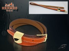 Hermes Double Tour Leather Bracelet Orange With Gold