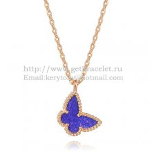 Van Cleef Arpels Lucky Alhambra Butterfly Necklace Pink Gold With Lapis Stone Mother Of Pearl