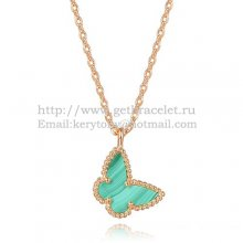Van Cleef Arpels Lucky Alhambra Butterfly Necklace Pink Gold With Malachite Mother Of Pearl