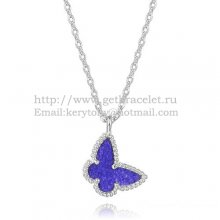 Van Cleef Arpels Lucky Alhambra Butterfly Necklace White Gold With Lapis Stone Mother Of Pearl